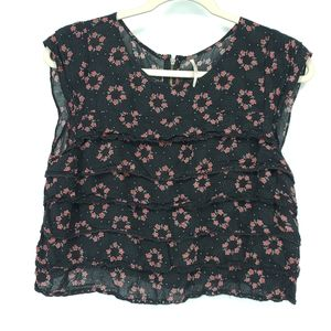 Free People Floral Print Ruffle Tiered Zip Blouse